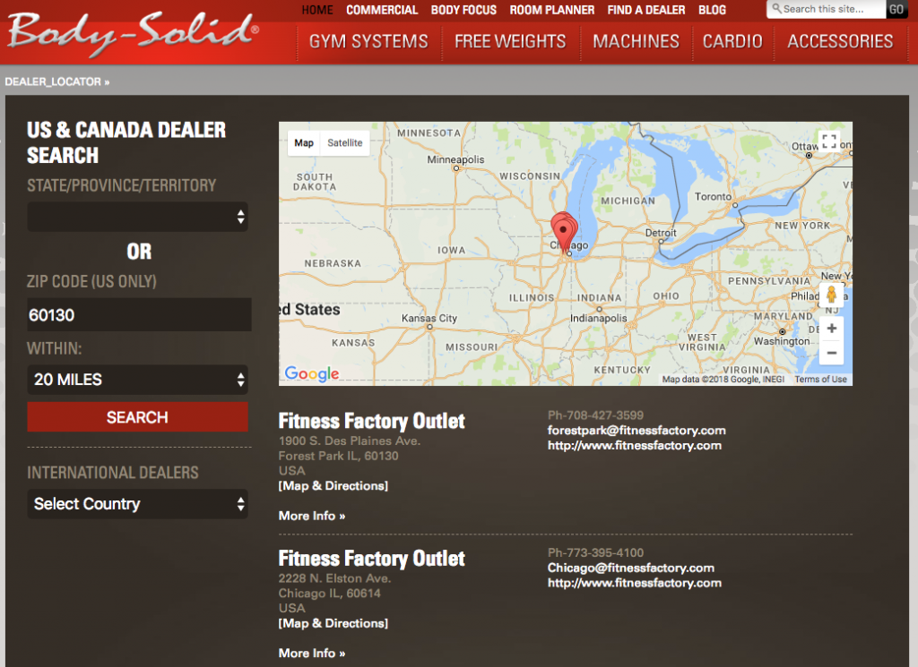 BodySolid.com Dealer Locator